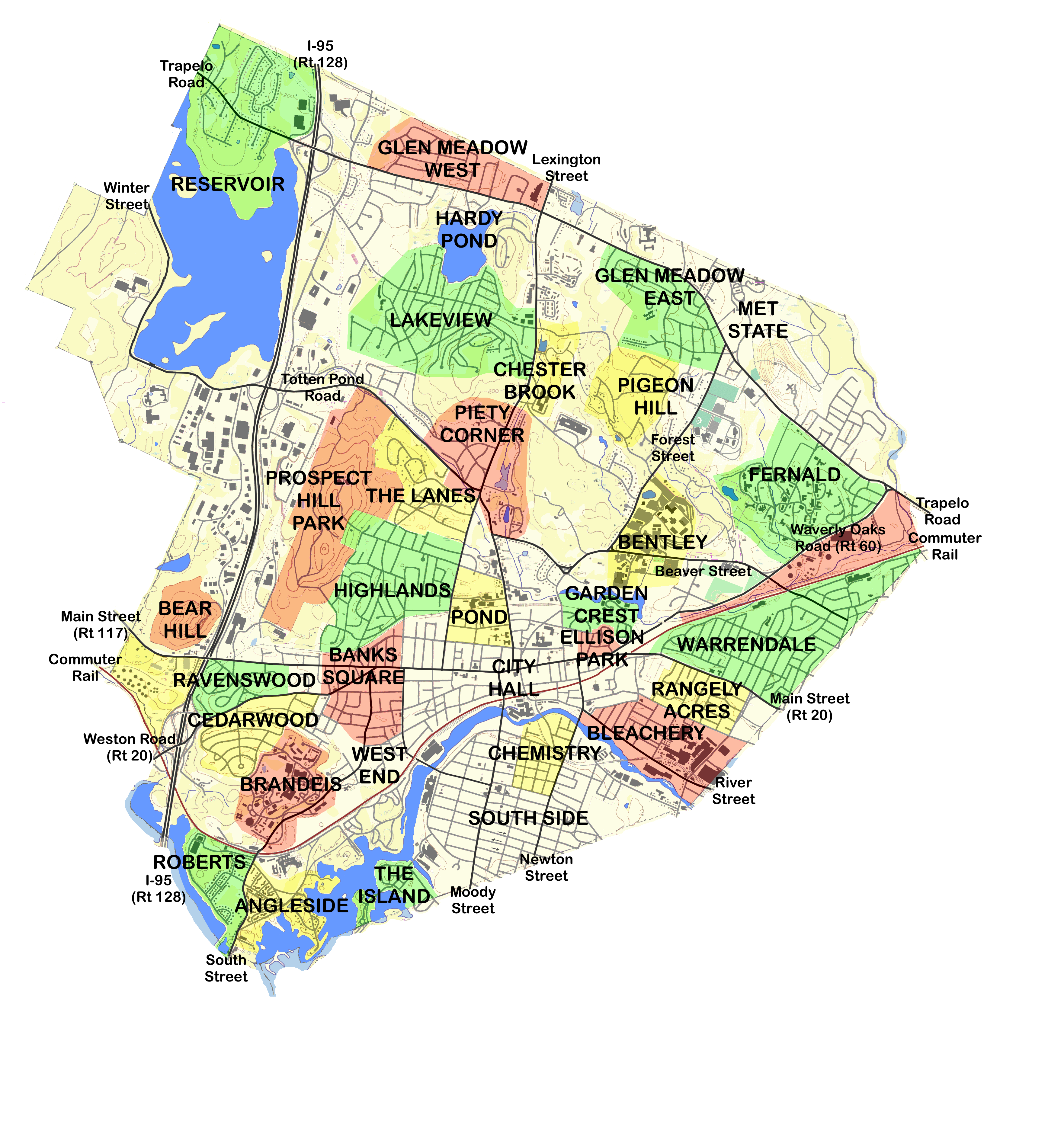 Waltham MA Maps - Map of ma